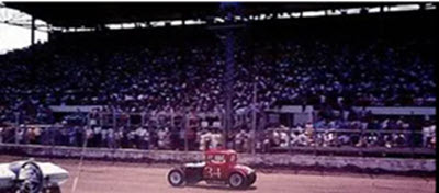 Walt Pickard competes at the 10th Annual National Modified Jalopy Championship Races on July 31, 1966 in Hutchinson, Kansas (Courtesy photo/kansasracinghostory.com)